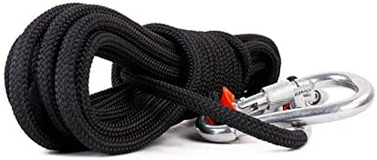 屋外の登山ロープ、10mm の安全ロープの登山懸垂下降ロープの登山ロープのナイロンロープの脱出 10m/20m/30m,Black,20m