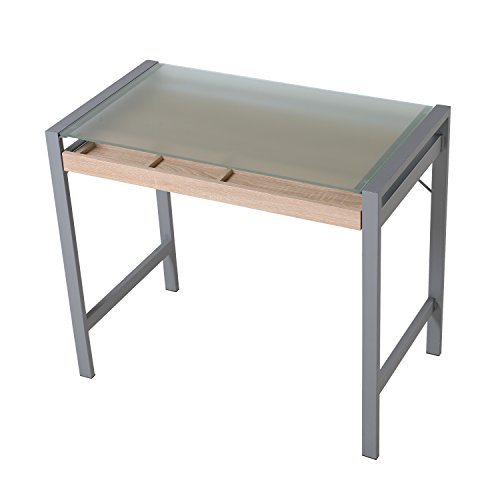 HomCom Modern Wood Steel Frosted Glass Computer Desk Writing Table w/ Drawer (With Drawers Glass Table)