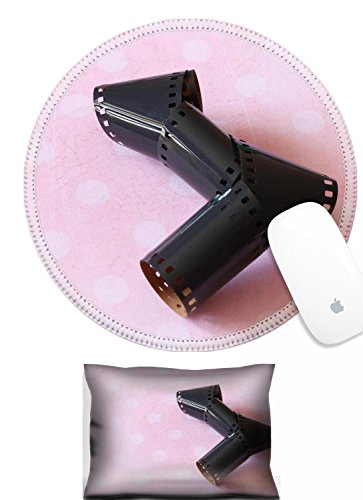 Luxlady Mouse Wrist Rest and Round Mousepad Set, 2pct IMAGE: 21248072 Old 35mm film strip on pink polka dot vintage background Abstract background hips