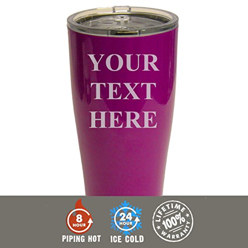 Engraved Custom SIC Cup Tumbler - Personalized 20 oz Powder Coated Cups with Double Walled Vacuum Sealed - Your Text Here Design (Purple) ()