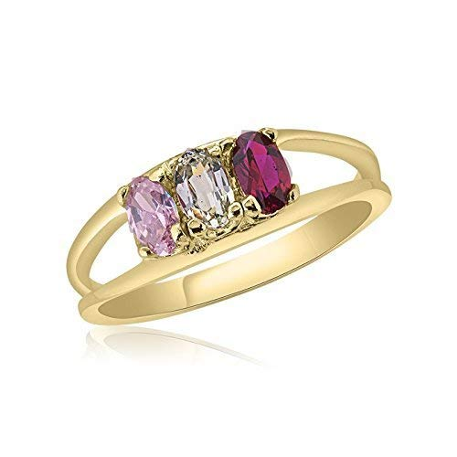 (10K Yellow Gold Oval Stone Ring - 3 Birthstone Family Ring)
