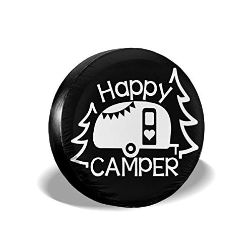 14,15,16,17 Inch Happy Camper Spare Wheel Tire Cover Waterproof for Trailer RV SUV Truck Camper Travel Trailer Accessories