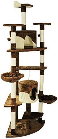 Árbol rascador para gatos de esquina 200cm Beig/marrón Accesorios mascotas Animales de compañía
