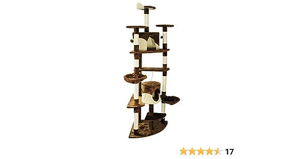 WilTec Árbol rascador para Gatos de Esquina 200cm Beis/marrón Accesorios Mascotas Animales de compañía