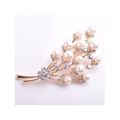 Winter's Secret Bouquet Shape Pearl Flower Brooch Diamond Accented Fashion Accessory