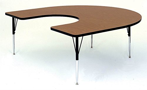Horseshoe Shape High Pressure Activity Table in Walnut (Short/Green)