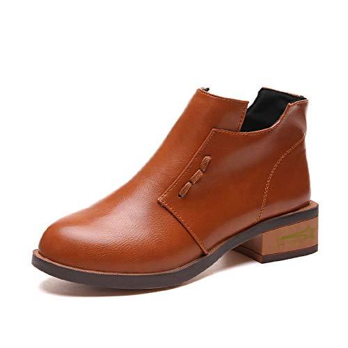 ZHRUI da caviglia Marrone cinturino basso alla Marrone donna tacco Dimensione Chelsea con 38 EU con Scarpe Colore gIqArg