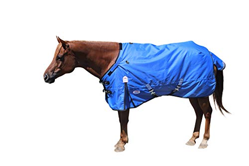 Extreme Elements 1200D Ripstop Waterproof Horse Blanket with 2 Year Warranty - 300g Polyfil Heavyweight Winter Turnout Blanket Royal Blue with Black Trim, 75""