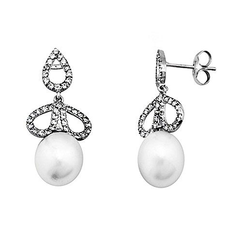 Boucled'oreille 18k blanc perle d'or 9.5mm. Mariage cultivé [AA5364]