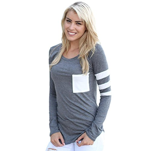 Malltop Women Casual Long Sleeve O-Neck Splice Color Patch Blouse Tops T Shirt