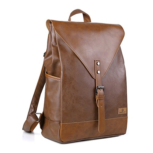 Koolertron PU Leather Laptop Backpack lightweight leather Sc