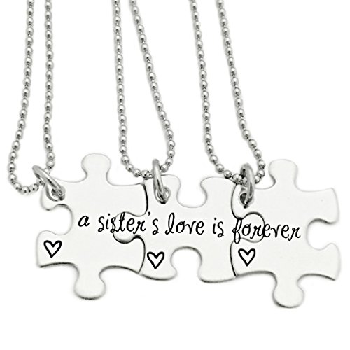 A Sisters Love Is Forever Puzzle Piece Necklace Set of 3- Personalized (Puzzle Piece Necklace Set)