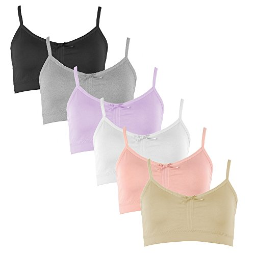 Price comparison product image Popular Girl's Adjustable Seamless Cami Bra with Removable Padding - 6 Pack - Small/Medium