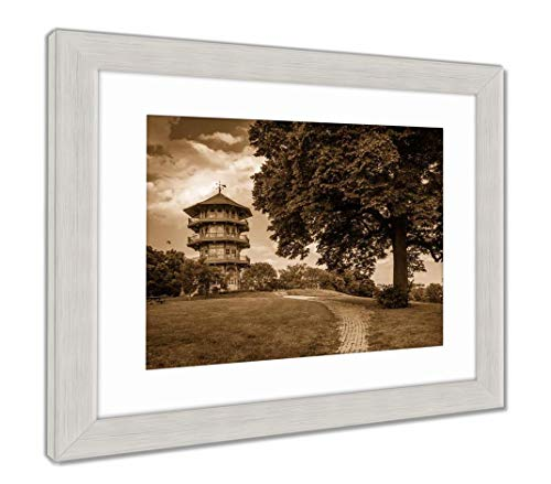 (Ashley Framed Prints The Pagoda and A Tree at Patterson Park in Baltimore Maryland, Wall Art Home Decoration, Sepia, 34x40 (Frame Size), Silver Frame, AG5646244)