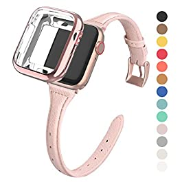 MARGE PLUS Compatible Apple Watch Band with Case 38mm 40mm Women, Slim Genuine Leather Watch Strap w