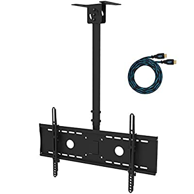 "Cheetah Mounts APLCMB Tilt, Swivel Black TV Ceiling Mount for 32"" to 75"" LED, LCD Flat Screen TV's; Includes One 15' Twisted Veins HDMI Cable"