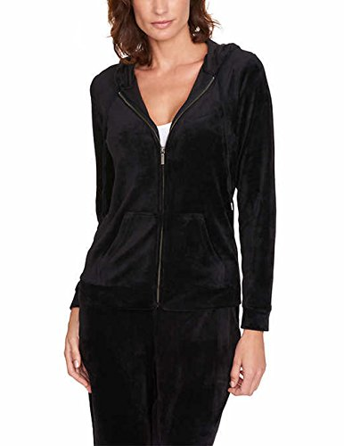 Gloria Vanderbilt Women's Ellie Velour Full Zip Hoodie. Size: Small. Black (Zip Womens Hoodies Velour)