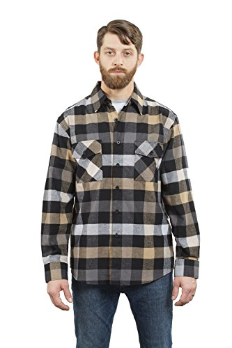 YAGO Men's Long Sleeve Flannel Plaid Button Down Shirt YG2508 (Gray/Brown/White, Large)