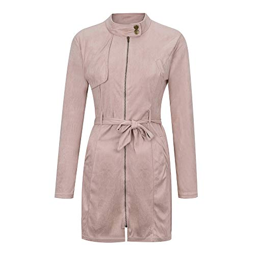 Fashion Women Windbreaker,Solid Turtleneck Zipper Jacket Bow Bandage Long Coat Overcoat Drawstring Waist Outwear ANJUNIE(Pink,M)