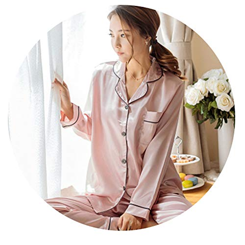 Updated,Women Silk Satin Pajamas Set Sleepwear Long Sleeve Lace Cute Cami Top and Shorts Pijama,B Pink,XXL