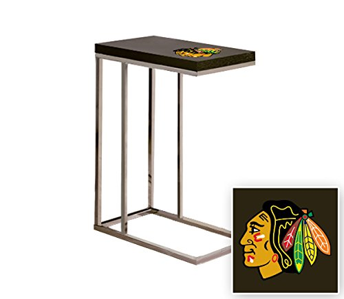 Black Laminate (Formica) and Chrome Finish Slide-Under TV Tray/End Table with Your Choice of a Sports Team Logo (Blackhawks) by The Furniture Cove