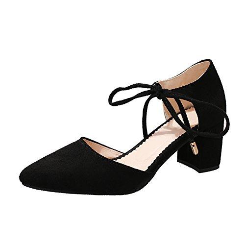 Modernos Punta Solo Tira De con Sandalias Zapatos Tacones EU40 Eu36 Baotou SHOESHAOGE Satén Mujeres con De Audaces Transversal xU5Iqpw1