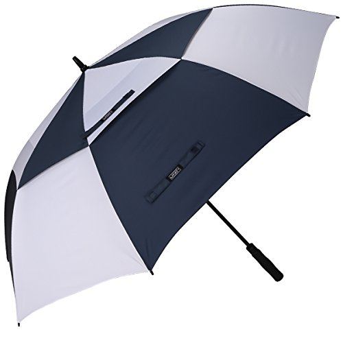 G4Free 62 Inch Automatic Open Golf Umbrella Extra Large Oversize Double Canopy Vented Windproof Waterproof Stick Umbrellas(Navy/White)