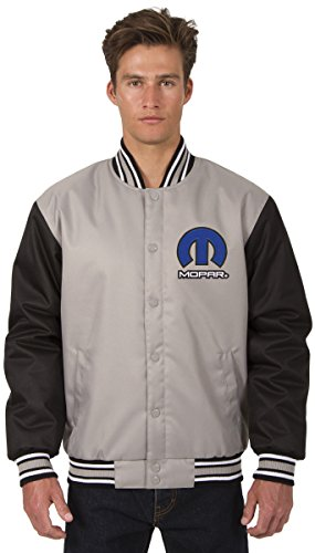 JH DESIGN GROUP Mens Mopar Logo Poly-Twill Jacket With Embroidered Emblems (4X, Gray - Black)