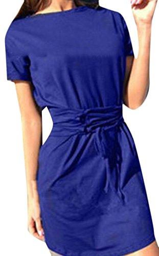 Manica Mini Blu Bendaggio Cromoncent Abito Girocollo T shirt Corta Casuale Womens FT6PwAq