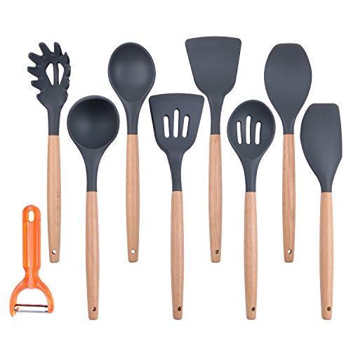 Large Product Image of Kitchen Utensils,WiK Suang Silicone Kitchen Utensil Set 8-Piece Cooking Utensils Set with Bamboo Wood Handles for Nonstick Cookware, with Bonus Peeler