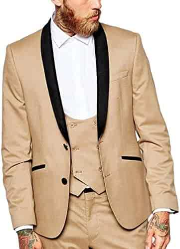 pujingge Mens Linen Formal Casual One-Button Slim Lapel Suit Blazer Jackets