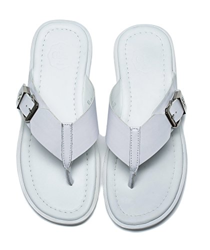 1899 Fashion Flops OPP 2017 white Classic for slippers in Mens Casual Anti skidding Genuine Flip Summer Leather ZZ0w1qx
