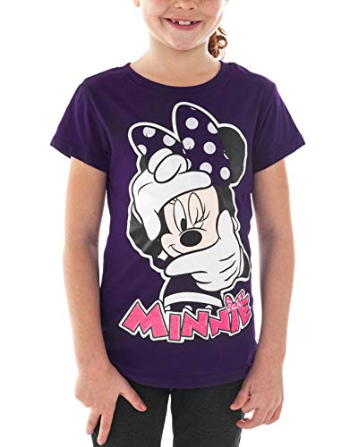 Disney Girls T-Shirt Minnie Mouse Glitter Selfie Print (Purple, X-Small) -