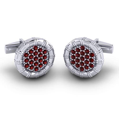 Garnet Gold Cufflinks - Azeera NAVIKA Cufflinks 14k White Gold Garnet Gems