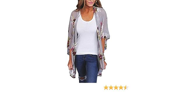 DEELIN Las Mujeres Gasas Chal Flojo Estampado Kimono Cardigan Top Cover Up Blusa Beachwear
