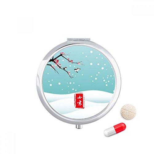 Circular Slight Cold Twenty Four Solar Term Travel Pocket Pill case Medicine Drug Storage Box Dispenser Mirror Gift by DIYthinker