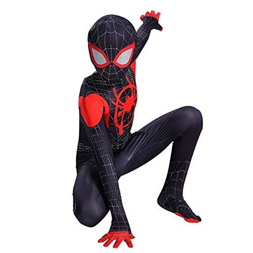 Kids Toddler Spider Verse Miles Morales Gwen Jumpsuit Bodysuit Black Spider Tights Zentai Costume (Miles Morales, Child M/110-120 cm)