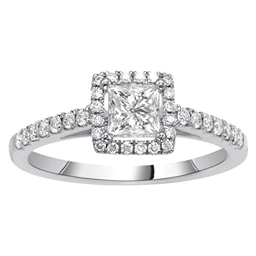 (14K White Gold 0.76ct TDW Princess Cut Diamond Halo Engagement Ring (G-H, SI1-SI2))
