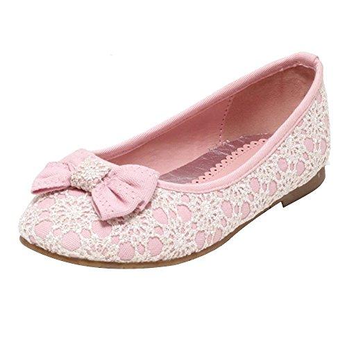 Mädchen Ballerina Sommerschuhe mit Spitze Gr. 23 - 30 Festschuhe Blumenmädchen Hochzeit Schuhe Kinder rosa Slipper Sandalen