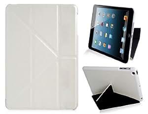 Multiple plegable funda de cuero de imitación con el soporte para Mini iPad (Blanco)