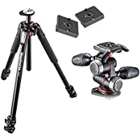 Manfrotto MT055XPRO3 Aluminium 3-Section Tripod Kit w/ MHXPRO3W X-PRO 3-Way Head w/Retractable Levers and Friction Controls w/ Two Replacement Quick Release Plates for the RC2 Rapid Connect Adapter