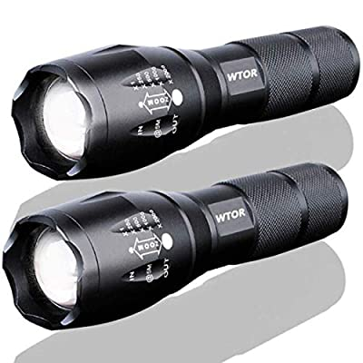 WTOR LED Tactical Flashlight [2 PACK] Military Grade Portable Super Bright 2000 Lumen XML-T6 LED Handheld Flashlight 5 Modes Zoomable - Everyday Flashlights, Outdoor, Emergency, Camping and Hiking