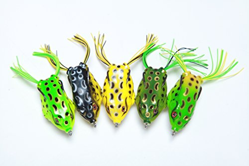 EcoMatrix 5pcs Topwater Frog Lure Ray frog bait Frog Fishing Crankbait Lures /Artificial Soft Bait 5.5CM 8G Soft Tube (Artificial Baits)