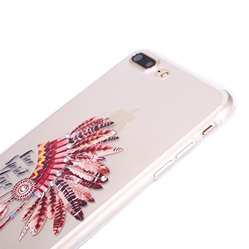 iPhone 7 Plus 2016 Hülle,iPhone 7 Plus Hülle,JAWSEU Diamont Feder Hut Muster TPU Case Hülle Ultradünne Silikon Gel Schutzhülle Durchsichtig Bling Glänzend Glitzer Kristall Transparent TPU Silikon Schu