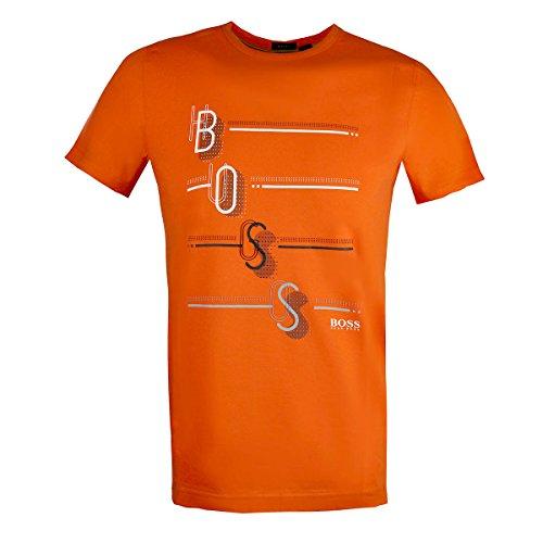 Hugo Boss Mens Crew-Neck T-Shirt Multi-Colored Logo Print 50389085 Orange - Crew T-shirt Boss