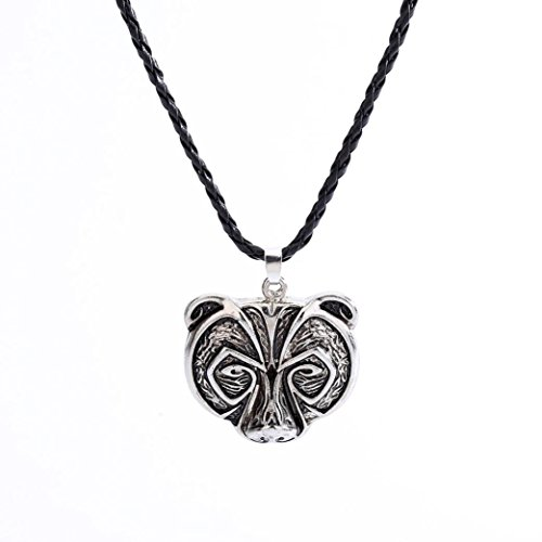 Polished Bear Pendant (Ulifeshop Clearance Men's Bear Head Pendant Necklace Soldiers Crow Necklace Legend Amulet Viking Norse Viking Amulet Chain Necklace (Silver))