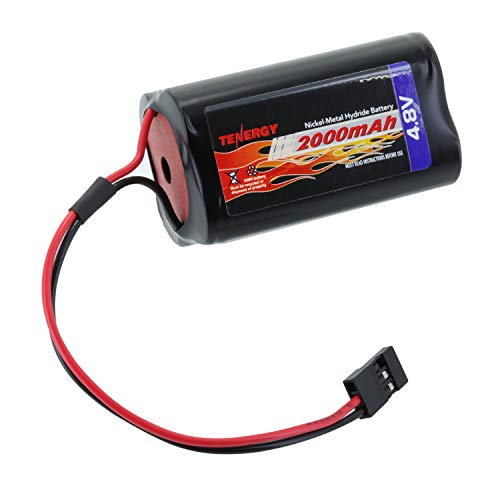 (Tenergy NiMH Receiver RX Battery with Hitec Connectors 4.8V 2000mAh High Capacity Futaba Battery Pack, Square Rechargeable Battery Pack for RC Receivers, Airplanes, and)