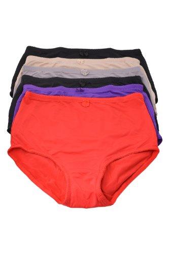 e591f3899ee Women s 6 Pack High Waist Cool Feel Brief Underwear Panties S-5xl