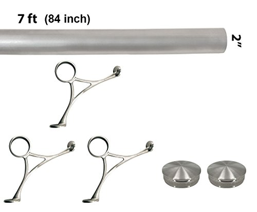 Bar Foot Rail Kit (Custom-Made Item) - Brushed Stainless Steel Tubing (2 in OD, 7 ft Length) - Combination Foot Rail Brackets - Tapered End Caps