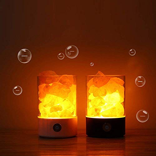 Nanle Himalayan Salt Lamp, Natural Crystal Salt Light with Touch Dimmer Switch LED Multicolour Changing Bulb for Bedroom Office Decoration and Air Purifying (Color : Black) by Nanle (Image #3)